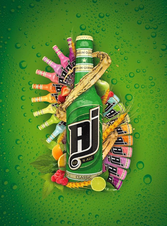 Label Design AJ-Malt-Drink-Visual-Quotor-Design-Carsten-A-Saupe