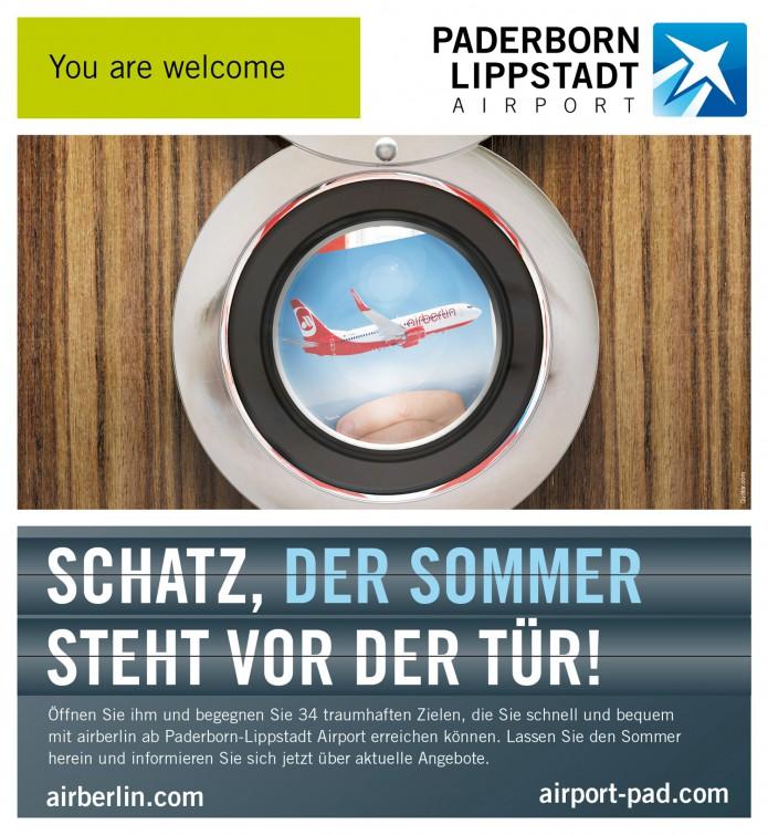 Anzeigenentwicklung und Gestaltung Sommer wirbt mit einer Anzeige von AirBerlin Paderborn-Lippstadt-Airport-Anzeigen-Motiv-Air-Berlin-©-Carsten-A-Saupe-CeSa-Quotor-Design