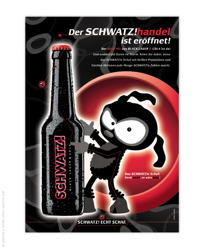 Corporate Design Entwicklung Schwatz-Bier-Cola-Mix-Schwatze-Schaaf-Plakat-Anzeige-©-Carsten-A-Saupe-CeSa-Quotor-Design
