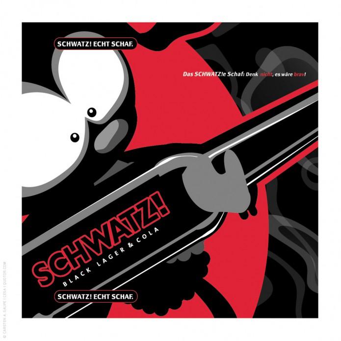 Corporate Design Entwicklung Schwatz-Bier-Cola-Mix-Schwatze-Schaaf-Serverte-©-Carsten-A-Saupe-CeSa-Quotor-Design