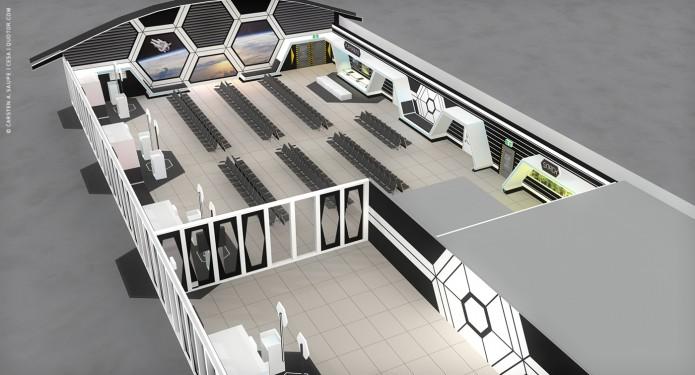 Raumkonzept Star Wars Odyssey 2001 Quotor Design TXL-Terminal-Star-Wars-Odyssey-2001-Design-Entwurf-Bild-03-©-Carsten-A-Saupe-CeSa-Quotor-Design