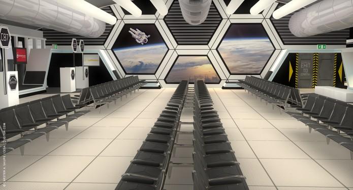 Raumkonzept Star Wars Odyssey 2001 Quotor Design TXL-Terminal-Star-Wars-Odyssey-2001-Design-Entwurf-Innen-Bild-01-©-Carsten-A-Saupe-CeSa-Quotor-Design