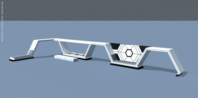 Raumkonzept Star Wars Odyssey 2001 Quotor Design TXL-Terminal-Star-Wars-Odyssey-2001-Design-Entwurf-Innen-Einrichtung-Bild-02-©-Carsten-A-Saupe-CeSa-Quotor-Design