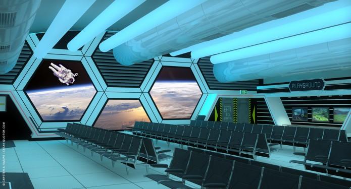 Raumkonzept Star Wars Odyssey 2001 Quotor Design TXL-Terminal-Star-Wars-Odyssey-2001-Design-Entwurf-Innen-Farblicht-Bild-01-©-Carsten-A-Saupe-CeSa-Quotor-Design