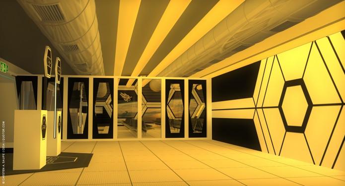 Raumkonzept Star Wars Odyssey 2001 Quotor Design TXL-Terminal-Star-Wars-Odyssey-2001-Design-Entwurf-Innen-Farblicht-Bild-02-©-Carsten-A-Saupe-CeSa-Quotor-Design