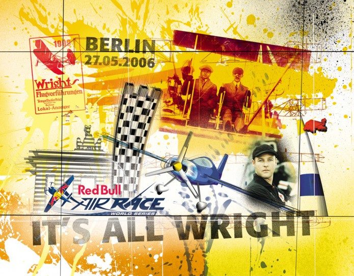Grossartiges Gastgeschenk RedBull Air Race Kunst_Grafik-Artwork_Red_Bull_Air_Race_Bros_Wright_Pilot_Mac_Lean-©_Artwork_Carsten_A_Saupe-CeSa-Creative_Director_in_Berlin-Quotor_Design