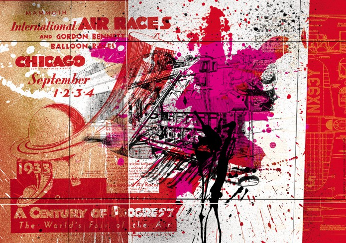 HistoryofAviation Artworks Kunst_Grafik-Aviation_Artwork_Luftfahrt-Chicago_Air_Race-©-Carsten-A-Saupe-CeSa-Quotor-Design